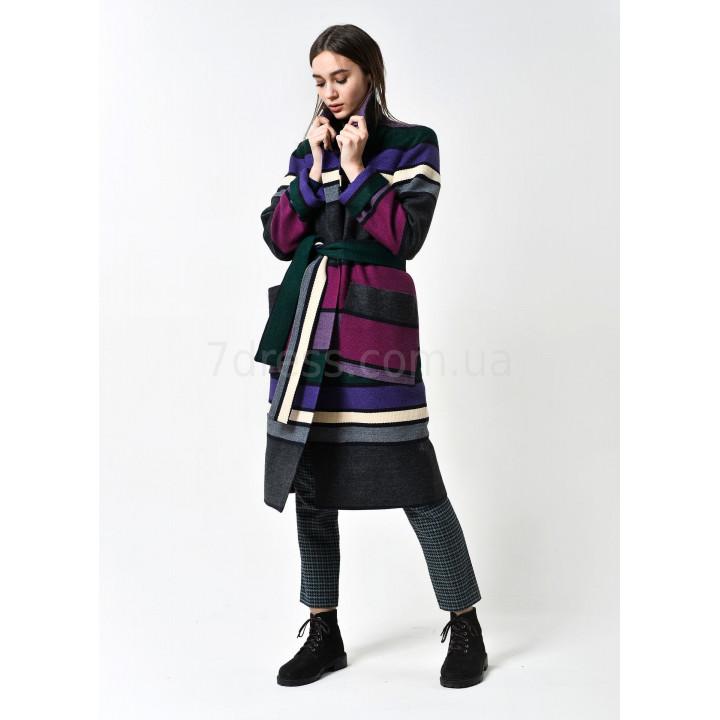Пальто «Ирен» в цветную полоску